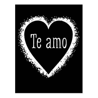 Te amo, I love you in Spanish black & white Postcard