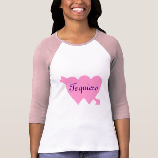 Te quiero ~i love you ~ on 2 pink heart tshirts