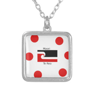 Te Reo Language And Maori Flag Design Silver Plated Necklace
