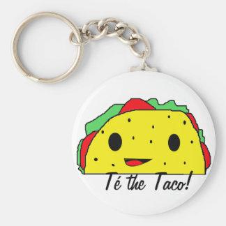 Té the Taco Basic Round Button Key Ring