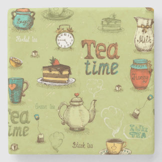 Tea and Honey Tea Time in Green Stone Beverage Coaster
