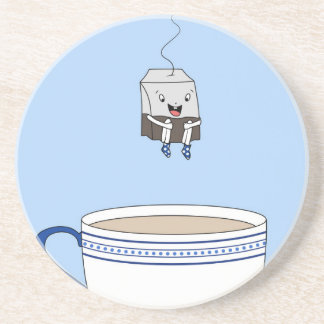 Tea bag jumping in cup drink coaster