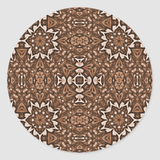 Tea Color Kaleidoscope Pattern Classic Round Sticker