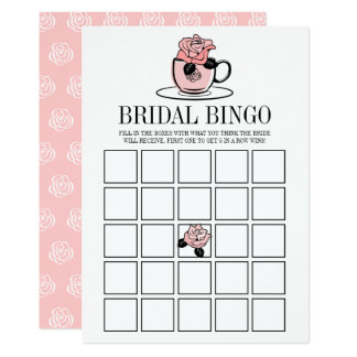 Tea Cup and Flowers Bridal Shower Bingo Game Card