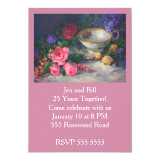 Tea Cup and Roses Anniversary Party Card