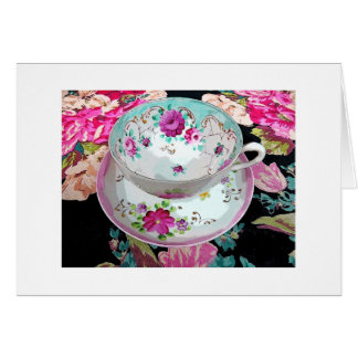 Tea Cup blank note card, Get Well, Miss You, Hello Card