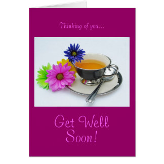 Tea cup & daisies: Get well soon! Cards