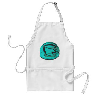 tea cup in green aprons