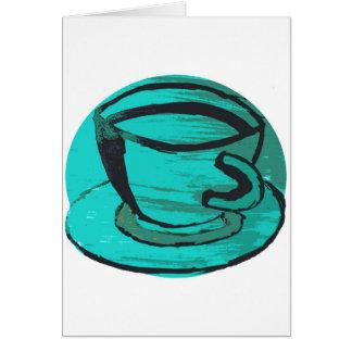 tea cup in green greeting card