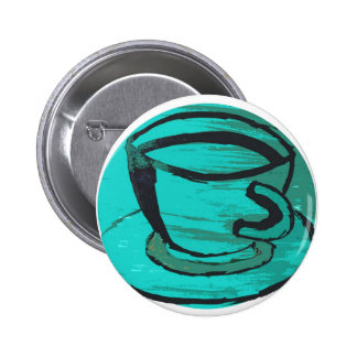 tea cup in green pinback buttons