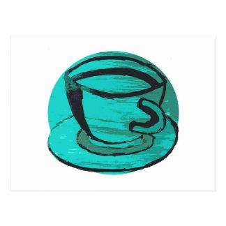 tea cup in green postcard