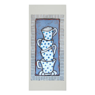 tea cup stack flat card 10 cm x 24 cm invitation card