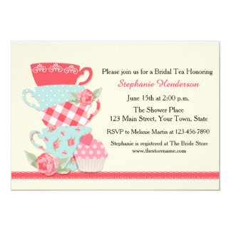 Tea Cups and Roses, Bridal Tea 13 Cm X 18 Cm Invitation Card