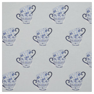 Tea cups cobalt fabric