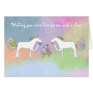 Tea Drinking Unicorns Wishing You Were Here Card