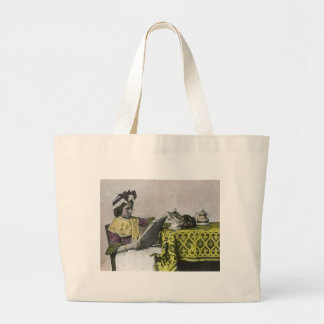 Tea for Two Party Vintage Victorian KItty Cat Girl Jumbo Tote Bag