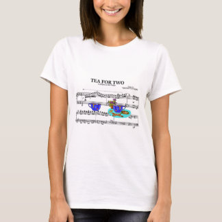 Tea For Two Teacups ~ Sheet Music Background T-Shirt