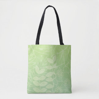 Tea-Green Tropical Foliage All-Over-Print Tote Bag