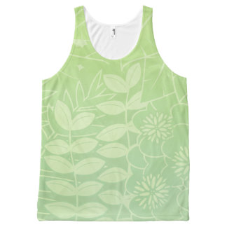 Tea-Green Tropical Foliage Unisex Tank All-Over Print Tank Top
