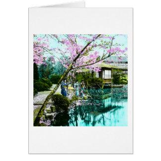 Tea House Geisha in Fugetsu Gardens of Old Japan Card