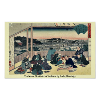 Tea house Shokintei at Yushima by Ando,Hiroshige Poster