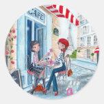 Tea in Paris Round Sticker