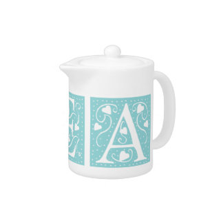 Tea in Turquoise Heart Letters Teapot