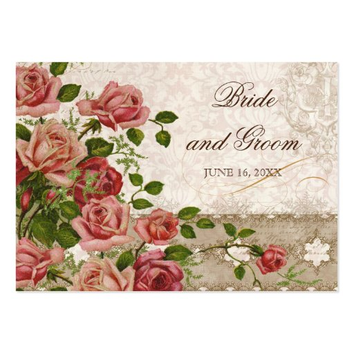 Tea Lace Rose Vintage - Escort Table Seating Cards Business Card Templates