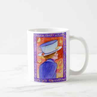 Tea Lady with Floating Lemons Basic White Mug