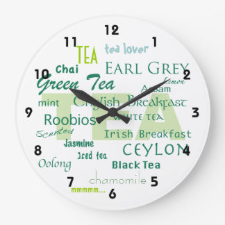Tea Lover-Shades of Green Word Cloud Wallclock
