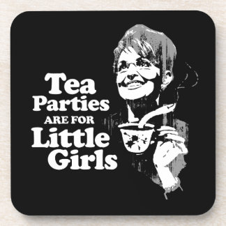 Tea Parties are for Little Girls- Faded png Drink Coaster