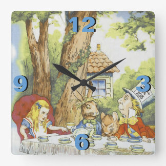 Tea Party 1 Square Wall Clock