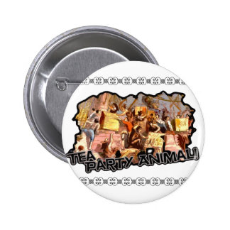 Tea Party Animal cutout Pinback Buttons