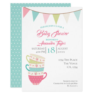 Tea Party Baby Shower Personalised Card