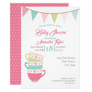 Tea Party Baby Shower Personalised Wedding Card