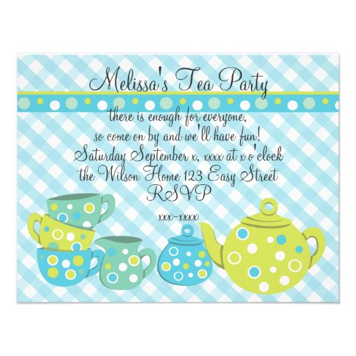 Tea Party Bedotted Custom Announcement