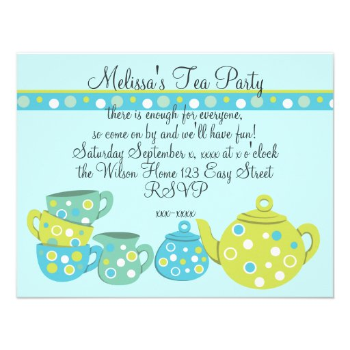 Tea Party Bedotted Invitations