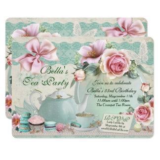 Tea Party Birthday Invitations