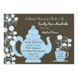 Tea Party Bridal Shower Blue and Brown Custom Invite
