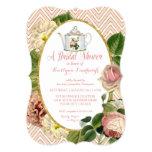 Tea Party Bridal Shower Chevron Stripes Rose 13 Cm X 18 Cm Invitation Card