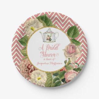 Tea Party Bridal Shower Chevron Stripes Rose 7 Inch Paper Plate