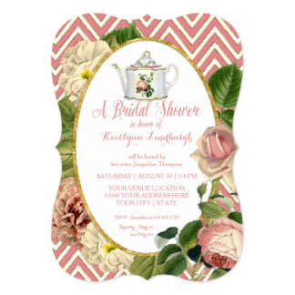 Tea Party Bridal Shower Chevron Stripes Rose Card