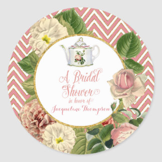Tea Party Bridal Shower Chevron Stripes Rose Classic Round Sticker