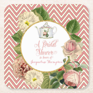 Tea Party Bridal Shower Chevron Stripes Rose Square Paper Coaster