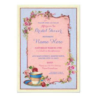 Tea Party Bridal Shower Garden Teacup Invitation