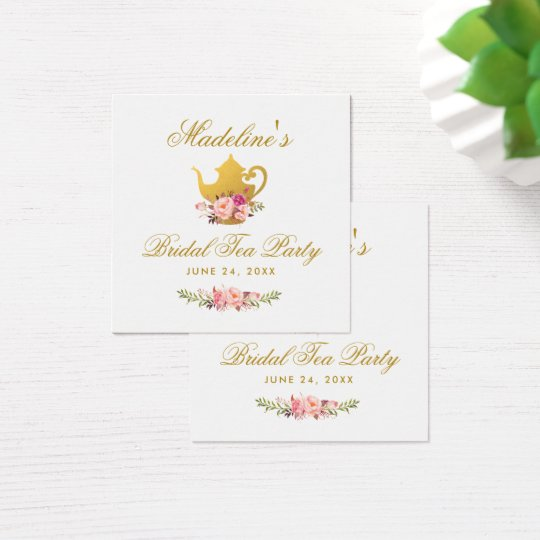 Tea Party Bridal Shower Pink Floral & Gold Tags
