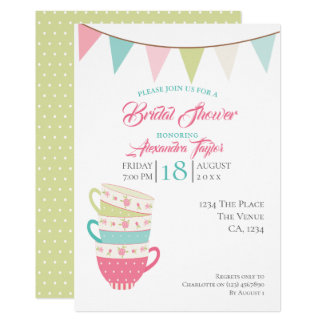 Tea Party Bridal Wedding Shower Personalised Card