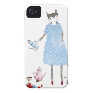 Tea Party Cat in a Karen Walker Dress iPhone 4 Case-Mate Cases