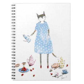 Tea Party Cat in a Karen Walker Dress Notebook