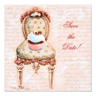 Tea Party Cupcake & Chair Custom Invitations